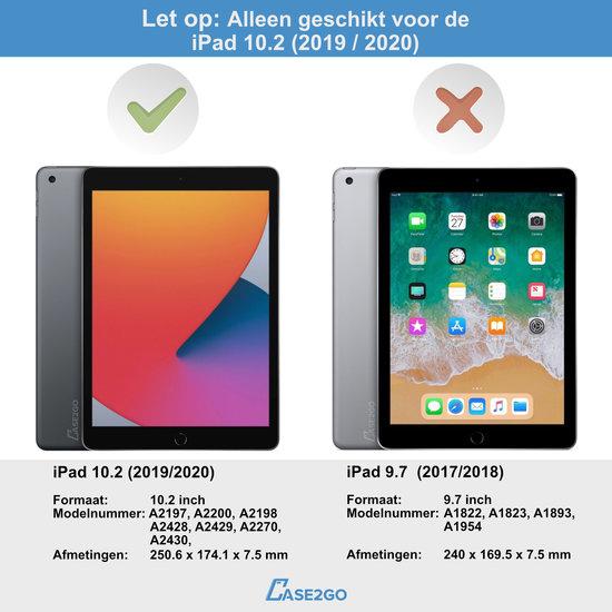 Case2go iPad 10.2 2019 / 2020 / 2021 case - Bluetooth Toetsenbord hoes - 360 graden draaibaar - met Toetsenbord Verlichting - Zwart