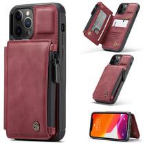 CaseMe - Telefoonhoesje geschikt voor Apple iPhone 13 Pro Max - Back Cover - met RFID Pasjeshouder - Rood