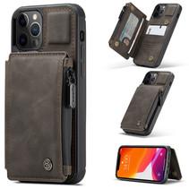 CaseMe - Telefoonhoesje geschikt voor Apple iPhone 13 Pro Max - Back Cover - met RFID Pasjeshouder - Donker Bruin
