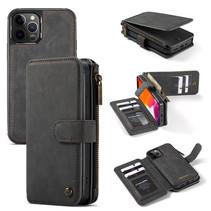 CaseMe - Telefoonhoesje geschikt voor Apple iPhone 13 Pro - Back Cover met Ritssluiting - Zwart