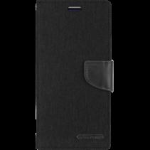 Telefoonhoesje geschikt voor iPhone 13 - Mercury Canvas Diary Wallet Case - Hoesje met Pasjeshouder - Zwart