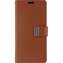 Telefoonhoesje geschikt voor Apple iPhone 13 Pro Max - Goospery Rich Diary Case - Hoesje met Pasjeshouder - Bruin