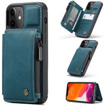 CaseMe - Telefoonhoesje geschikt voor Apple iPhone 13 - Back Cover - met RFID Pasjeshouder - Blauw