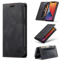AutSpace - Telefoonhoesje geschikt voor Apple iPhone 13 Mini - Wallet Book Case - Magneetsluiting - met RFID bescherming - Zwart