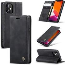 CaseMe - iPhone 12 Mini hoesje - Wallet Book Case - Magneetsluiting - zwart