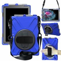Tablet Hoes geschikt voor Microsoft Surface Go 3 Cover - Hand Strap Armor Case met Surface Pen Houder - Blauw