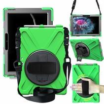 Tablet Hoes geschikt voor Microsoft Surface Go 3 Cover - Hand Strap Armor Case met Surface Pen Houder - Groen