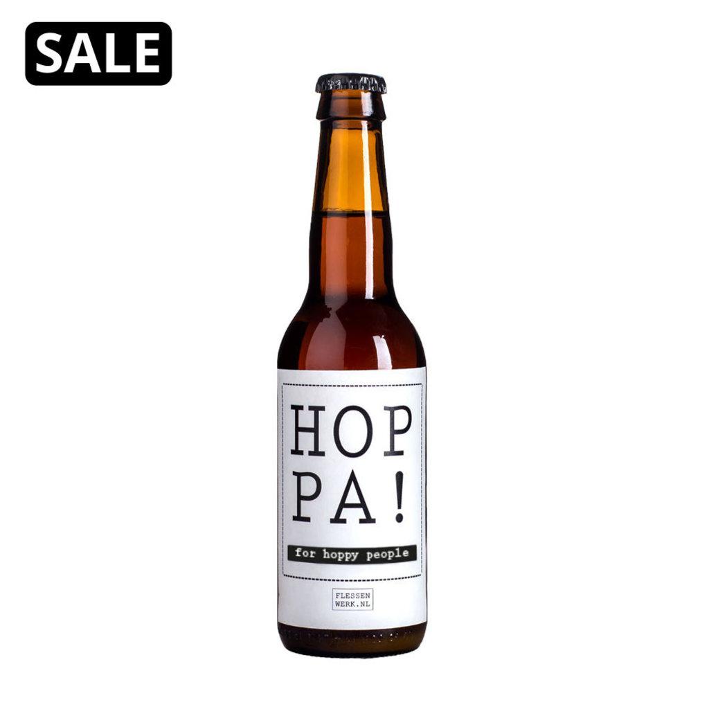 Flessenwerk Hoppa bier klein met wit etiket- per 24