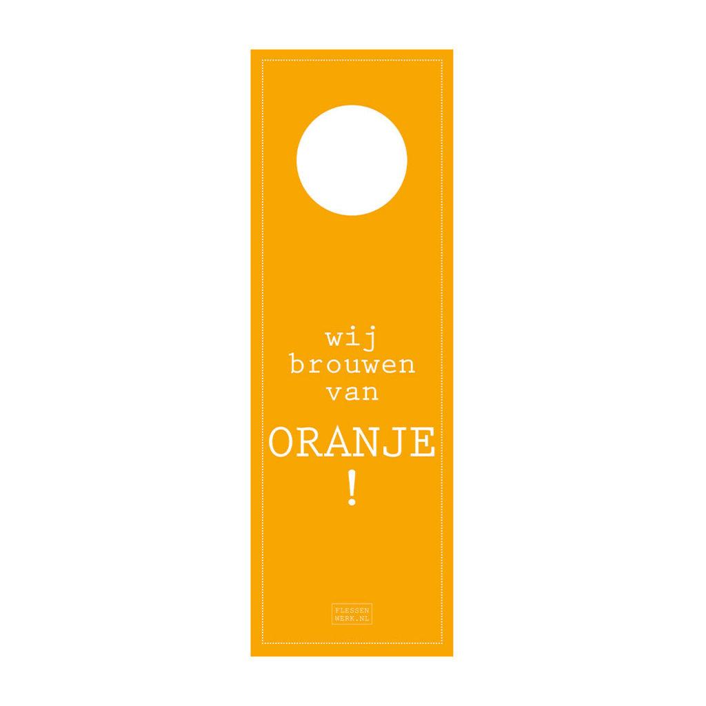 Flessenwerk Bierhangers - wijn brouwen van oranje! - per 12