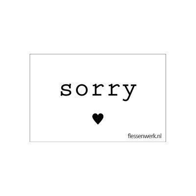 Flessenwerk Kaartje - Sorry - per 6