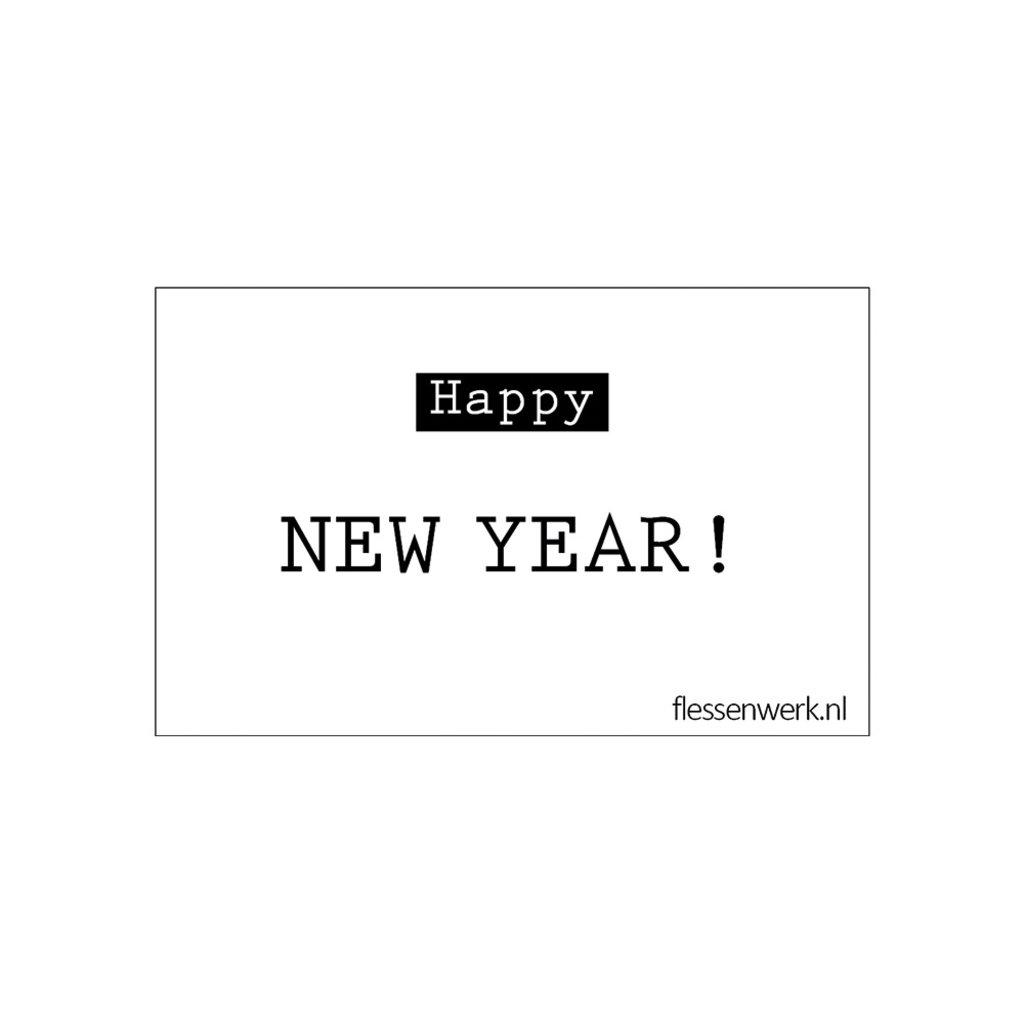 Flessenwerk Kaartje - Happy new year - per 6