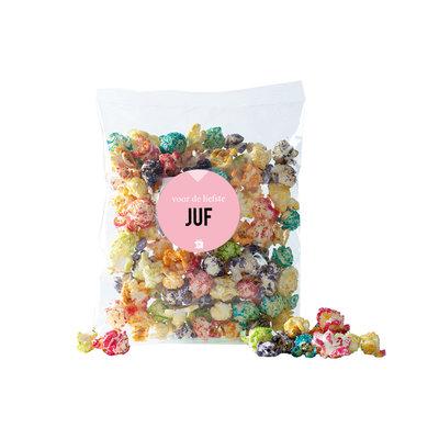 Eat your present Gekleurde popcorn - juf - per 6