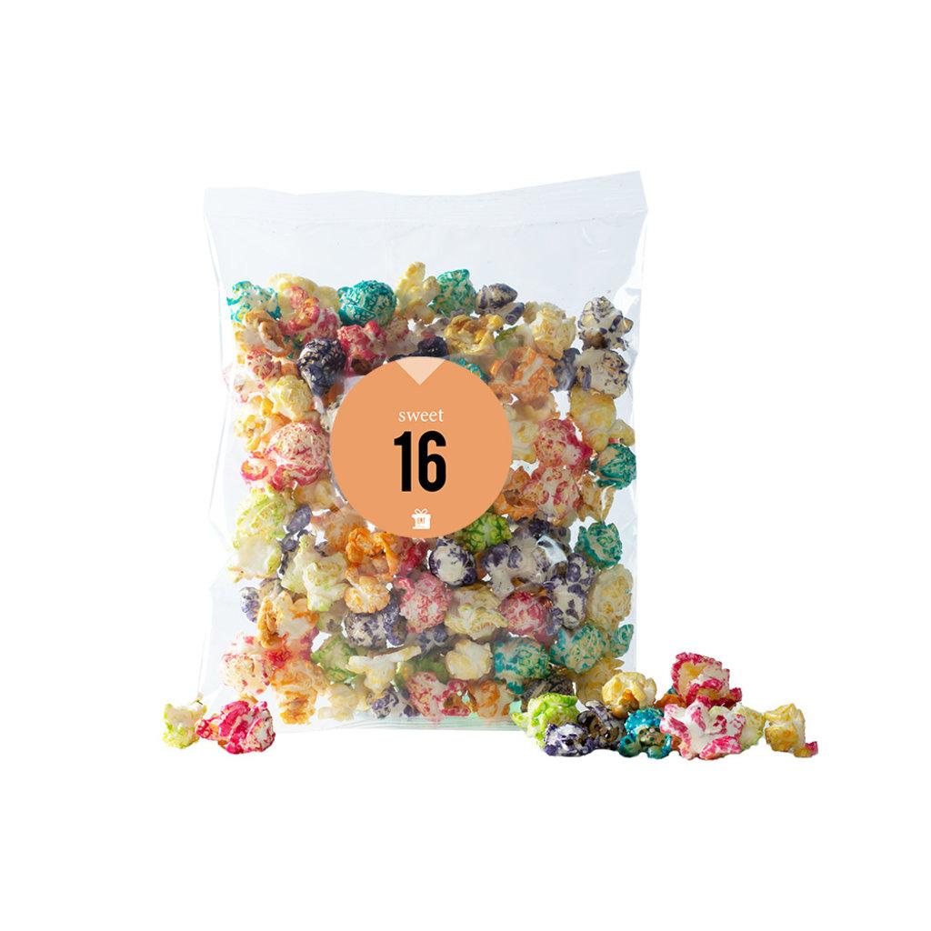 Eat your present Gekleurde popcorn - sweet 16 - per 6