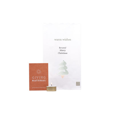 Giving Natural Candlebags - warm wishes Christmas - per 10
