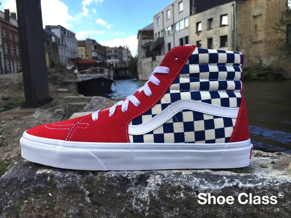682f57db68fa90 VANS SK8-HI (BMX Checkerboard) True Blue Red - Shoe Class