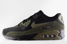 M NIKE AIR MAX 90 LEATHER Black/Medium Olive Sequoia