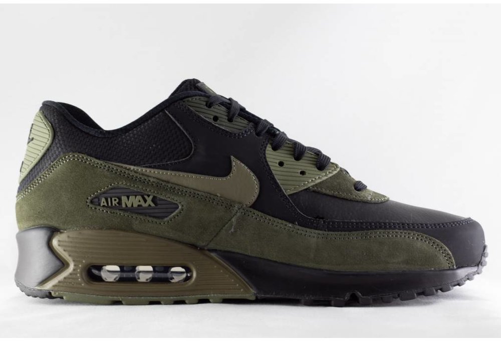 M NIKE AIR MAX 90 LEATHER Black/Medium Olive Sequoia