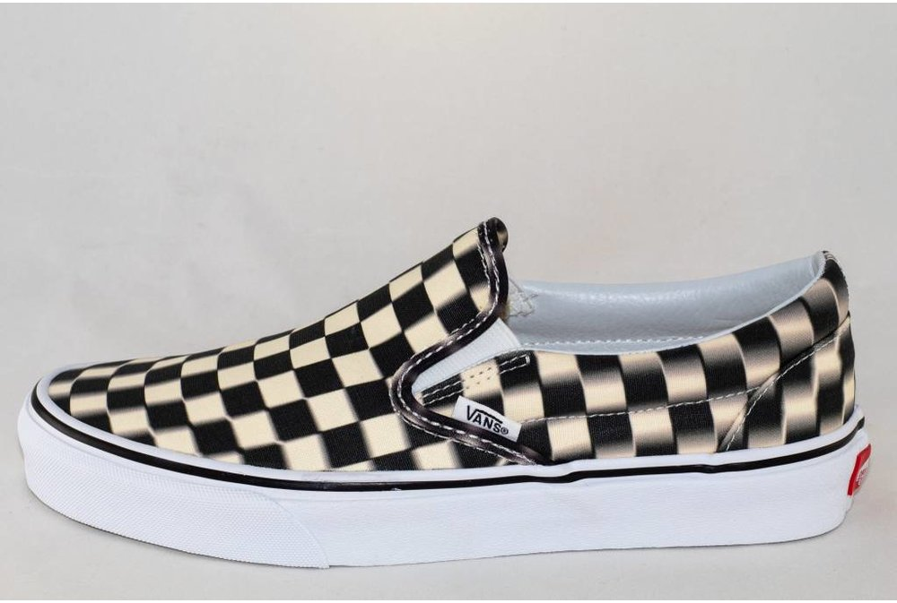 VANS SLIP-ON (Blurr Checkerboard) Black/Classic White