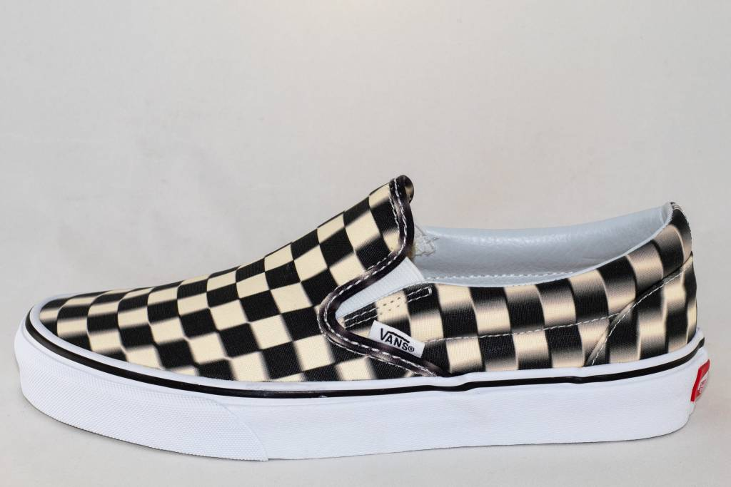 245b2cc00cca63 VANS SLIP-ON (Blurr Checkerboard) Black Classic White - Shoe Class