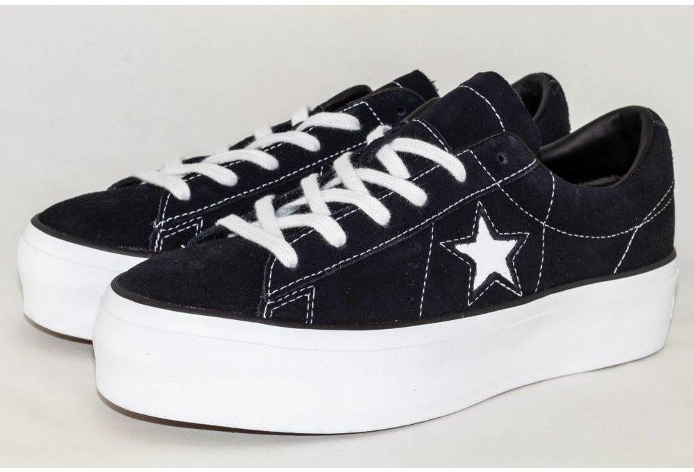 9f1b4b5ba87c CONVERSE ONE STAR PLATFORM OX Black  White - Shoe Class