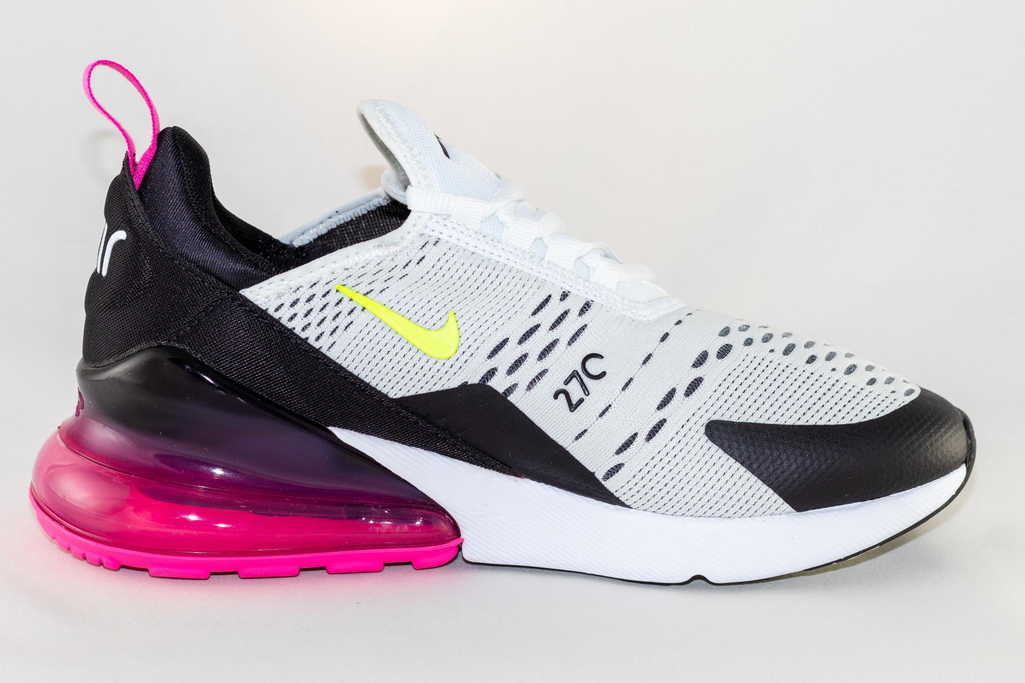 Nike J NIKE AIR MAX 270 (gs) White/ Volt-Black-Laser-Fuchsia