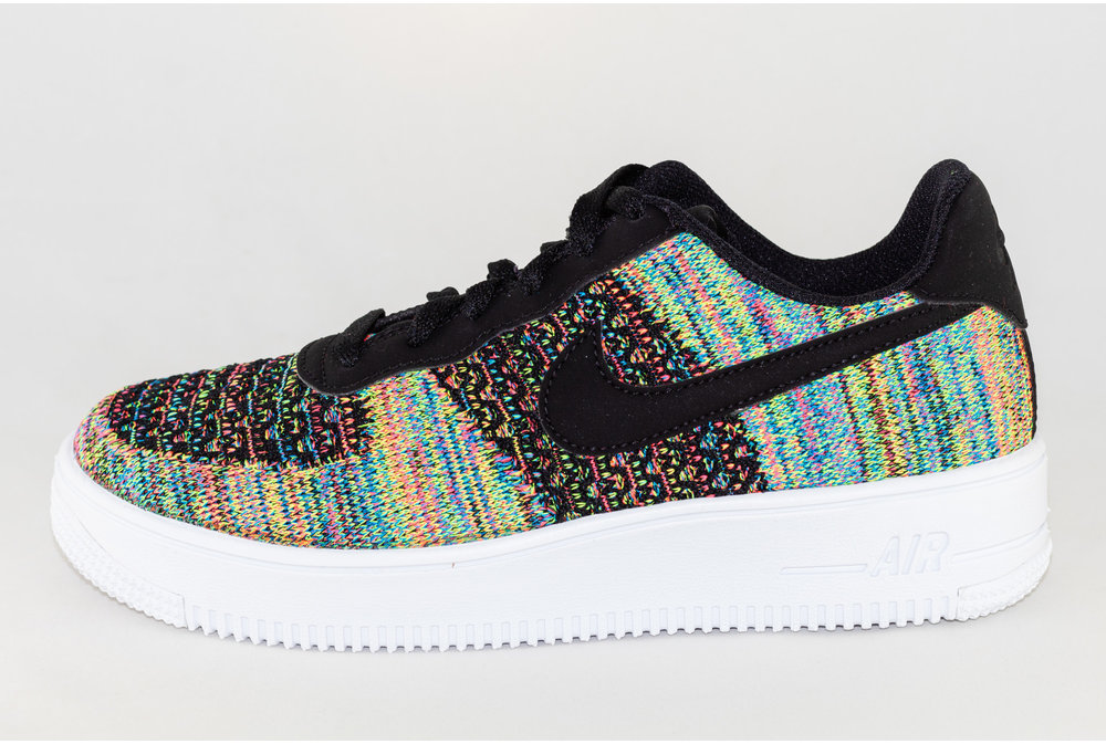 Nike NIKE AIR FORCE 1 FLYKNIT 2.0 (GS) Black/ Black- Hyper Pink- Volt