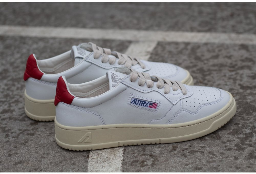 AUTRY LOW MAN ALL LEATHER White/ Red