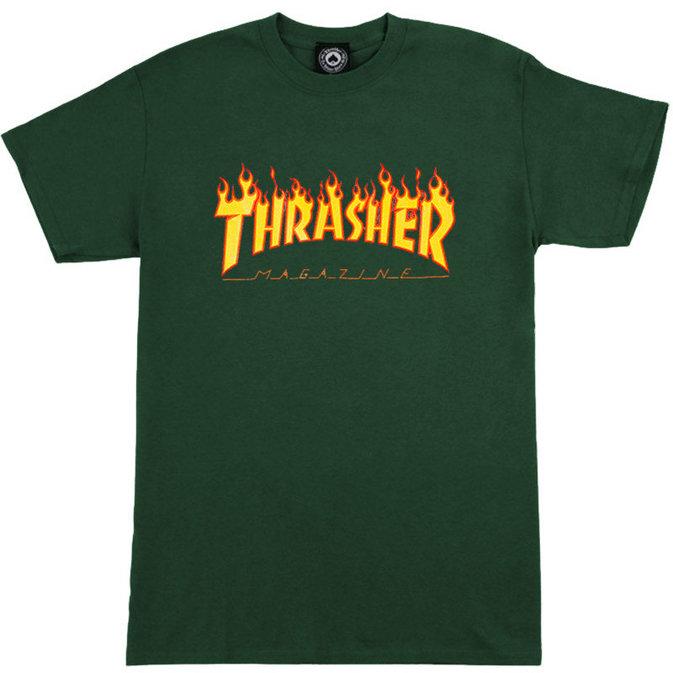 THRASHER THRASHER T-SHIRT FLAME Forest Green