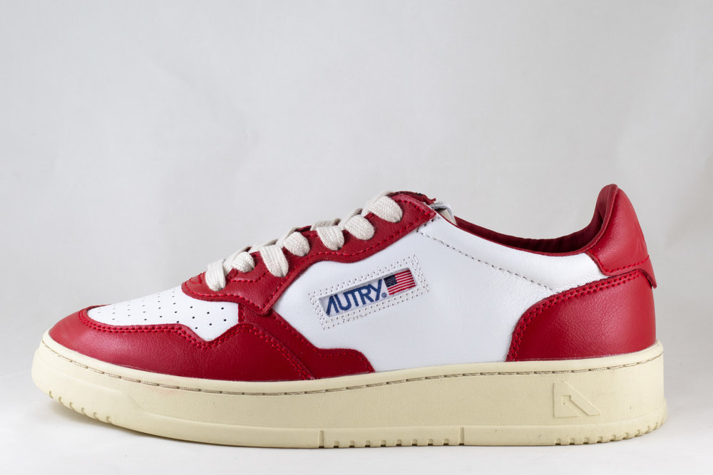 AUTRY AUTRY BU01 LOW MAN LEATHER  White/ Red