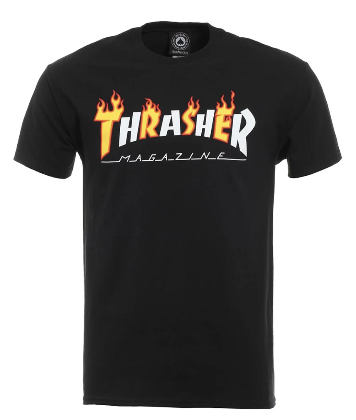 THRASHER T-SHIRT FLAME Black/White