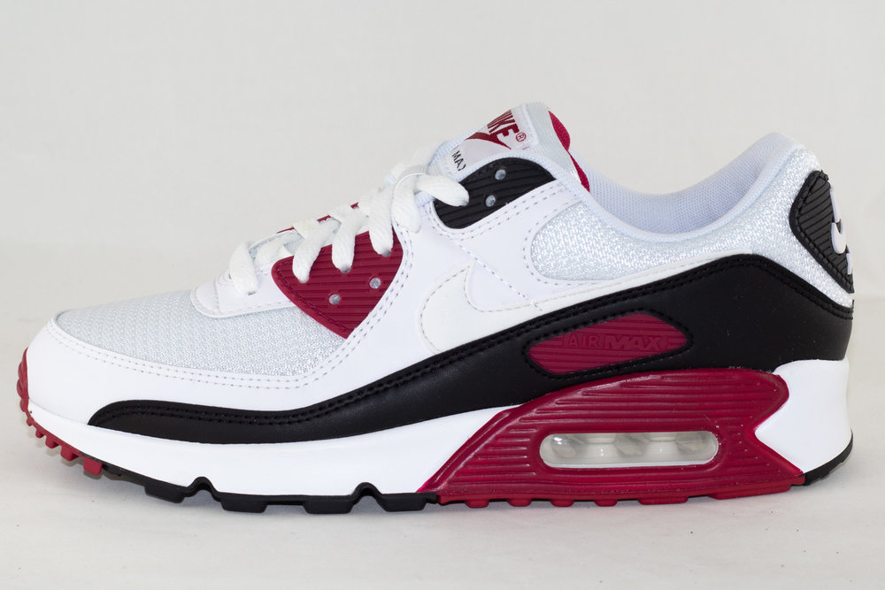 NIKE NIKE AIR MAX 90 White/ White- New Maroon- Black