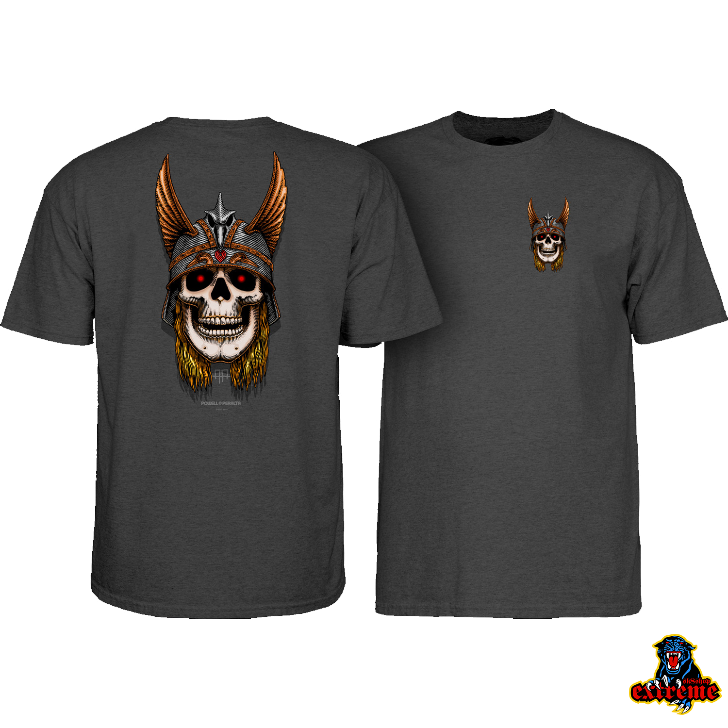 POWELL PERALTA T-SHIRT ANDY ANDERSON SKULL Charcoal Heather