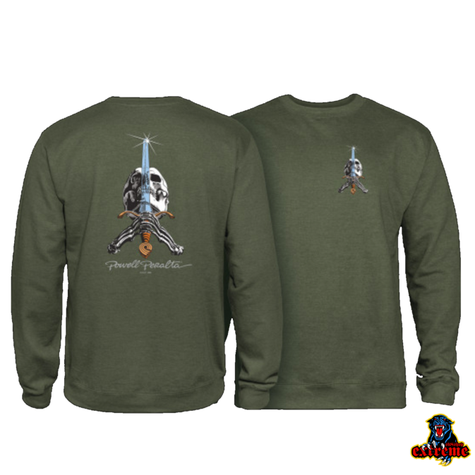 POWELL PERALTA POWELL PERALTA  CREW SKULL AND SWORD Army Green