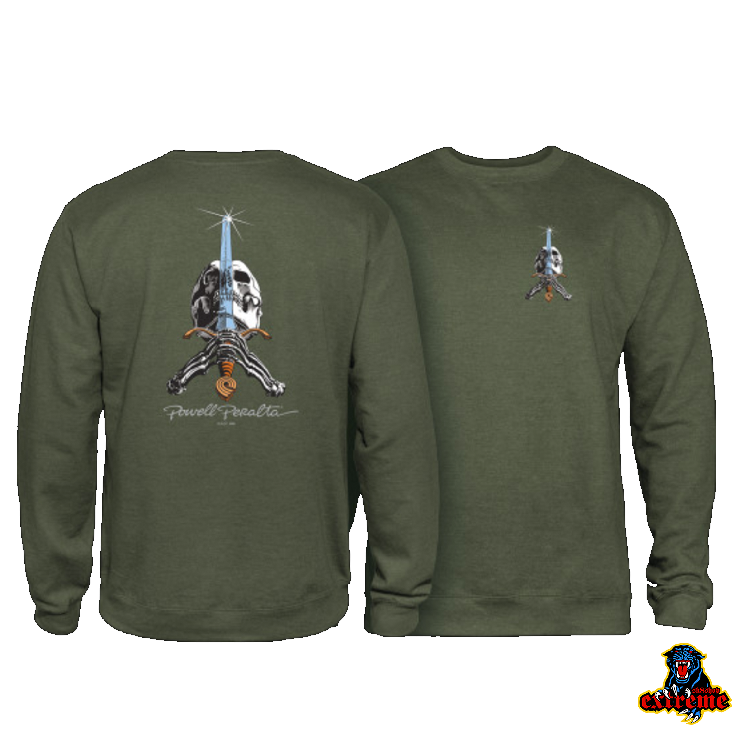 POWELL PERALTA CREW SKULL AND SWORD Army Green