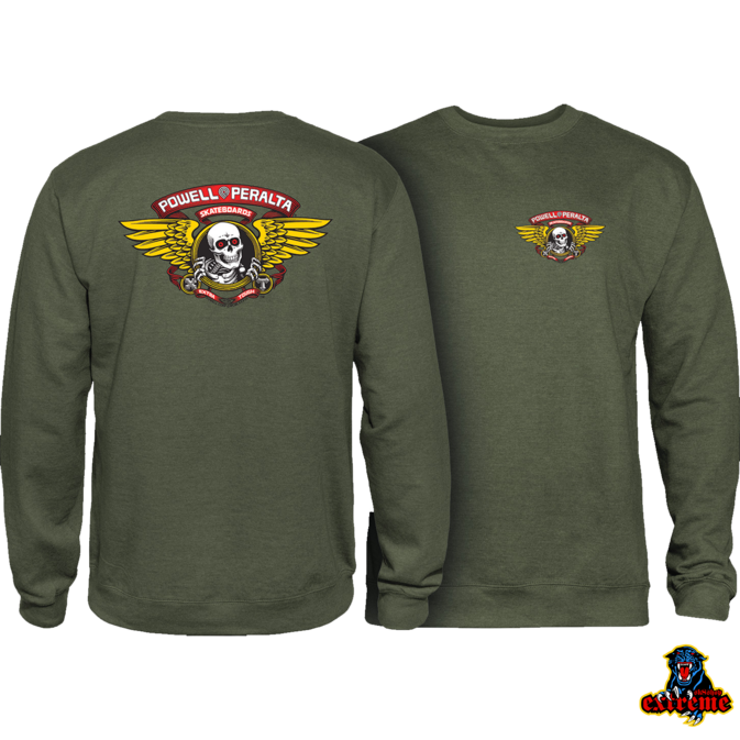 POWELL PERALTA POWELL PERALTA  CREW WINGED RIPPER Army Green