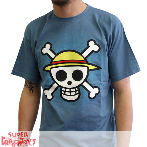 "T-SHIRT - ONE PIECE ""SKULL WITH MAP"" - BLUE"