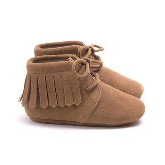 Mockies Fringe Boots Camel Suede