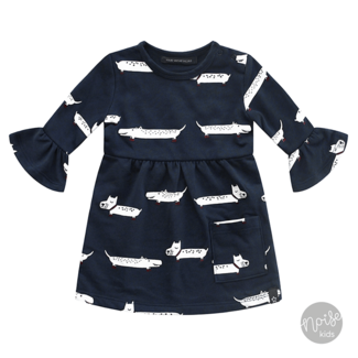 Your Wishes Ruffle Dress Puppy in the Park Blue