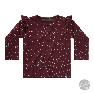 Your Wishes Ruffle Shirt Rainy Wine Red