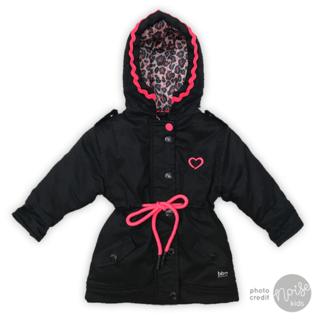 Beebielove Winterjas Black Fluor Pink
