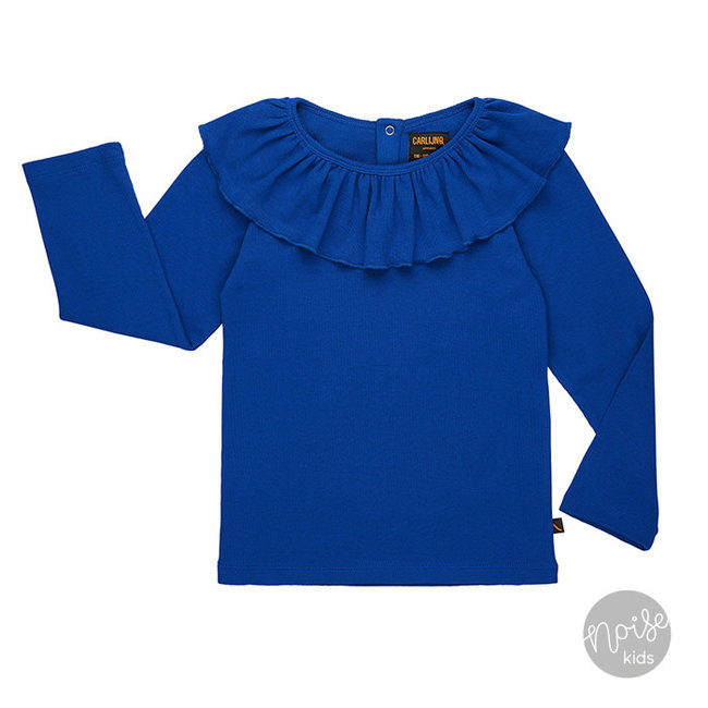 CarlijnQ Party Shirt Rib Ruffled Collar Blue