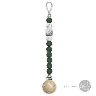 Chewies & More Siliconen Speenkoord Deep Green & Marble