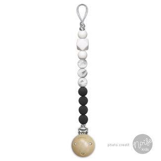 Chewies & More Siliconen Speenkoord Black, Marble, White