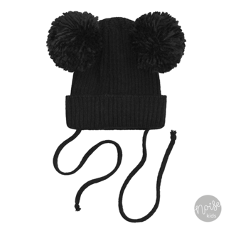 Your Wishes Knitted Pom Pom Hat Black