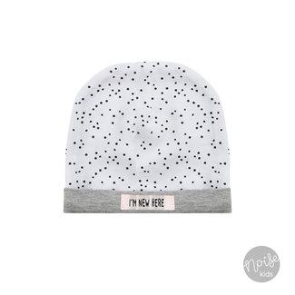Beebielove Newborn Mutsje Dots White Grey