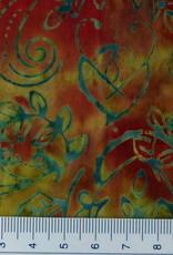 Diverse 10 cm Batik hellgrün rot
