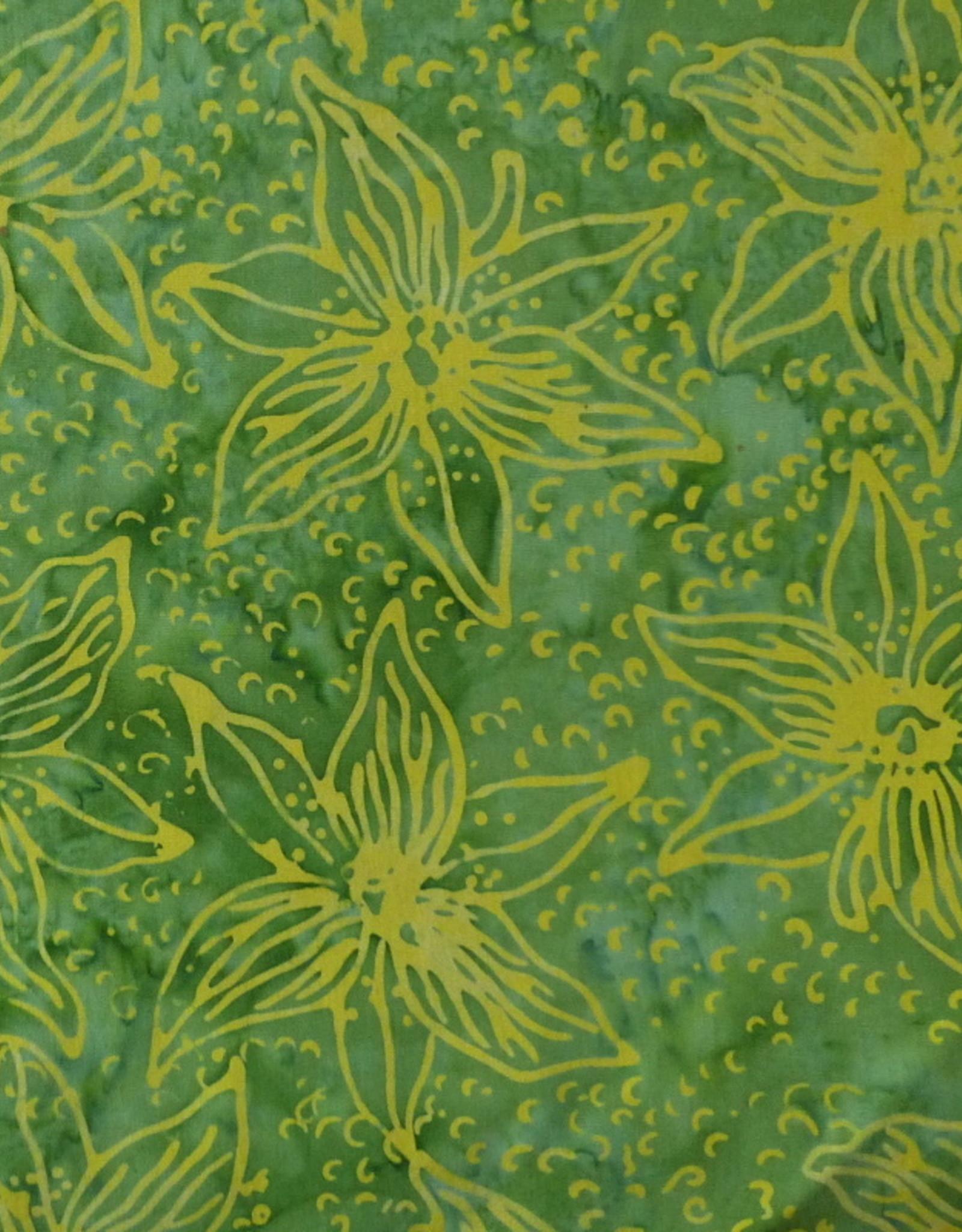 Diverse 10 cm Batik Blumen gruen gelb