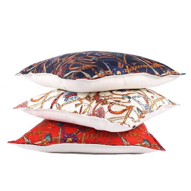 Throw Pillow  45x45 cm Horse Tassels and Belts - Baxter - Blue