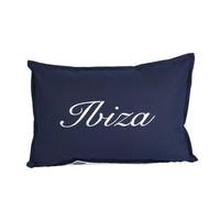 Throw Pillow 35x50 cm - Navy linen - exclusive with silver - Ibiza