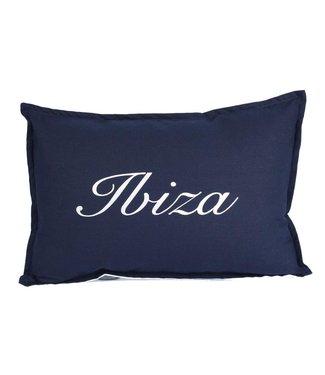 Throw Pillow 35x50 cm - Navy linen - Ibiza